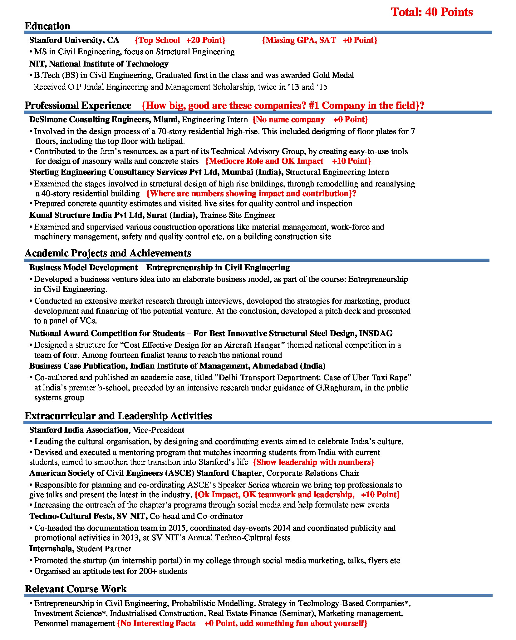 Consulting Resume Scored Before Editing